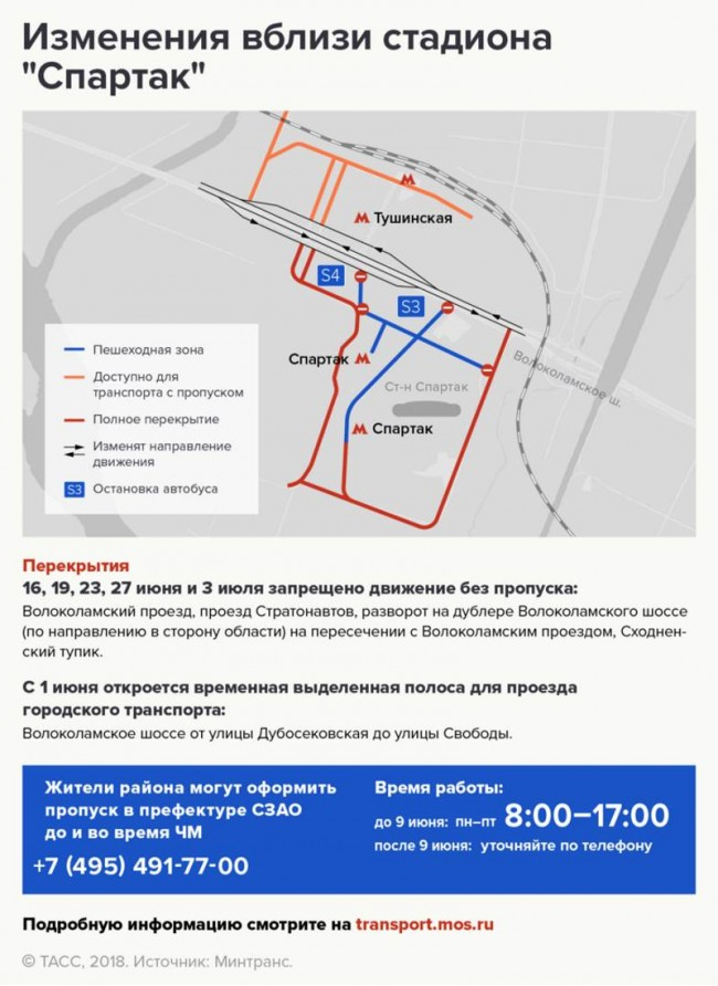 Схема движения транспорта в Москве во время ЧМ-2018
