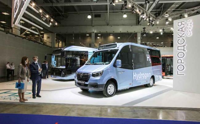 Водородный автобус ГАЗель City на выставке Comtrans 2021 в Москве