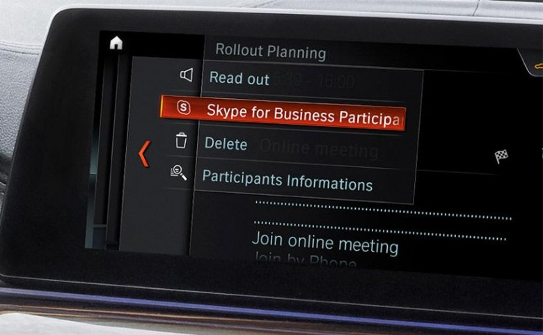 Skype for Business в автомобиле BMW